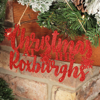 'Christmas at The' Glitter Acrylic Hanging Christmas Sign