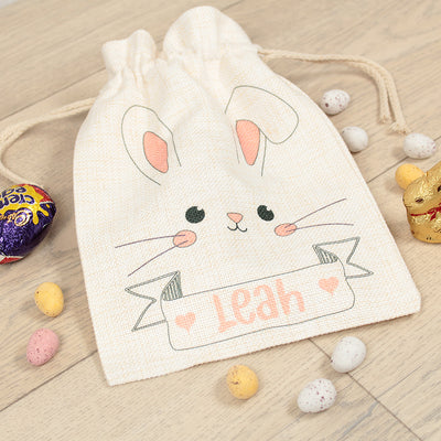 Personalised Bunny Face Easter Gift Bag