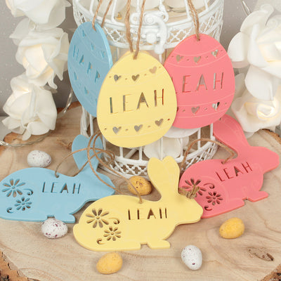 Personalised Pastel Acrylic Easter Bunny Egg Gift Tag Decorations