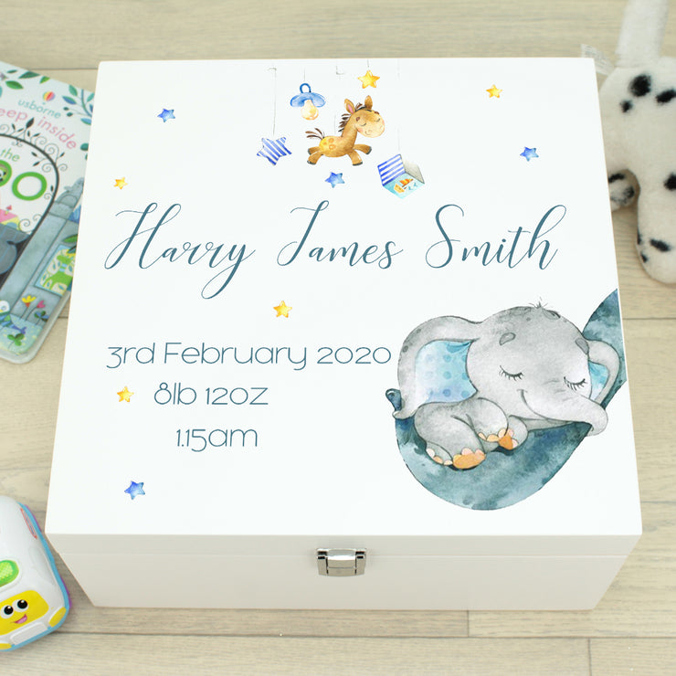 Elephant Cradle Baby Wooden Keepsake Memory Box