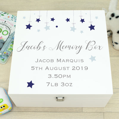 Stars Baby Wooden Keepsake Memory Box