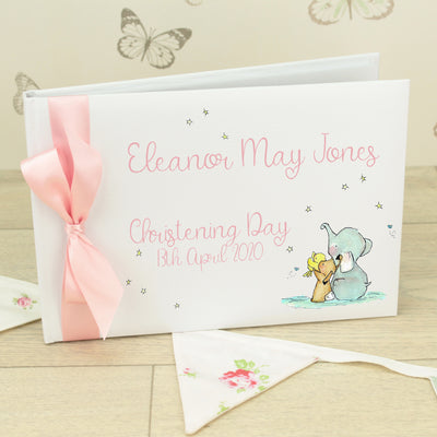 Elephant Stars Christening Guest Book