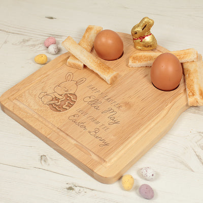 Personalised Happy Easter Bunny Dippy Egg Toast Breakfast Board