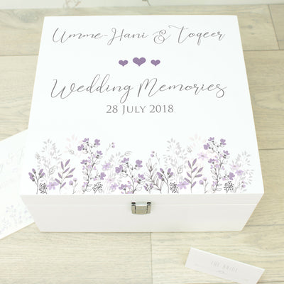 Forget-me-Not Wooden Keepsake Memory Box