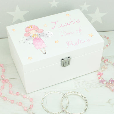 Personalised Fairy Children's Jewellery Box with Mirror