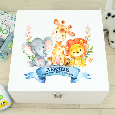 Jungle Animal Baby Wooden Keepsake Memory Box