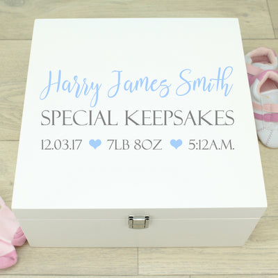 Typography Baby Wooden Keepsake Memory Box
