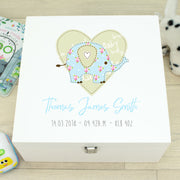 Patchwork Elephant Baby Wooden Keepsake Memory Box