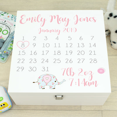 Calendar Baby Wooden Keepsake Memory Box