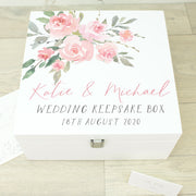 Watercolour Rose Wooden Wedding Keepsake Memory Box