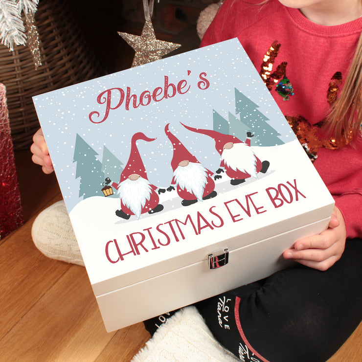Personalised Gonk Gnome Santa Family Wooden Christmas Eve Box