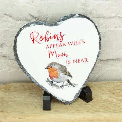 Personalised Robins Appear Memorial Heart Rock Slate with Stand