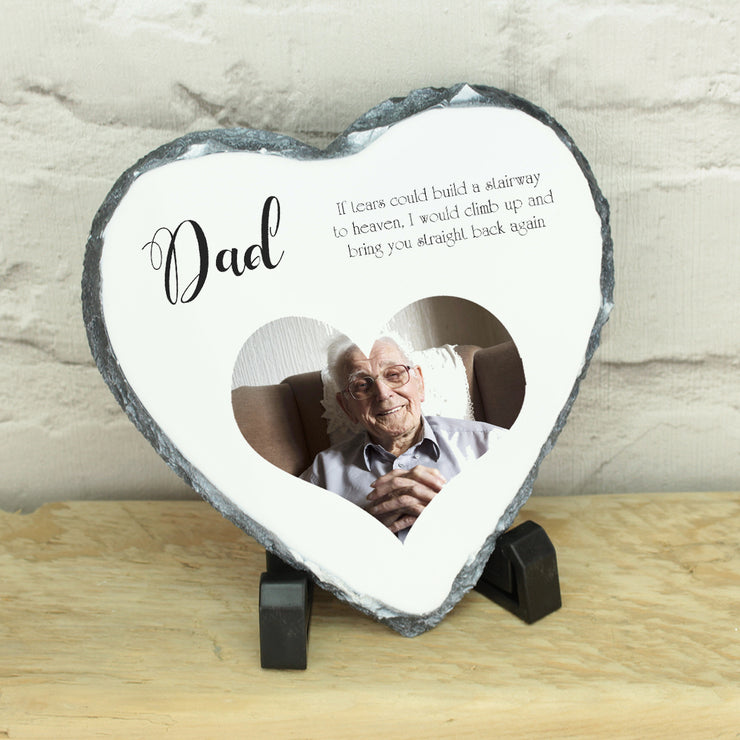 Personalised Photo Memorial Heart Rock Slate with Stand
