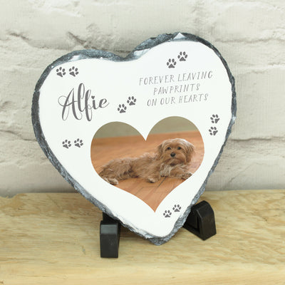 Personalised Pet Photo Memorial Heart Rock Slate with Stand