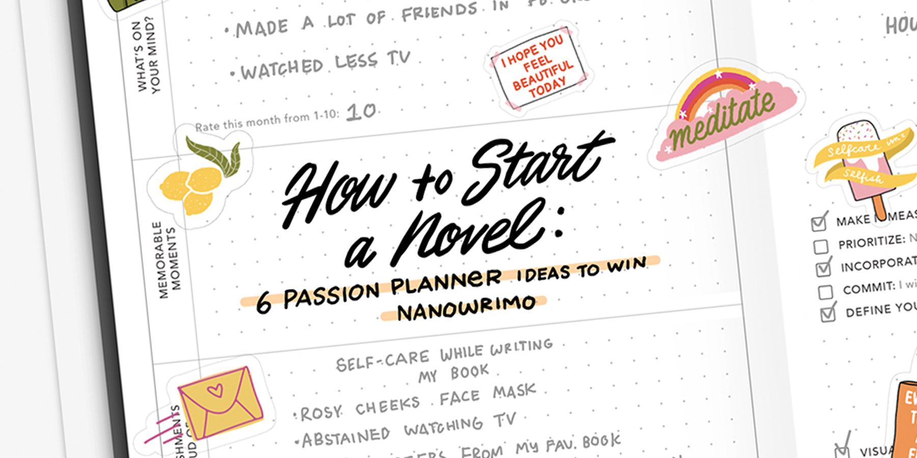 How to Start a Novel: 6 Passion Planner Ideas to Win NaNoWriMo