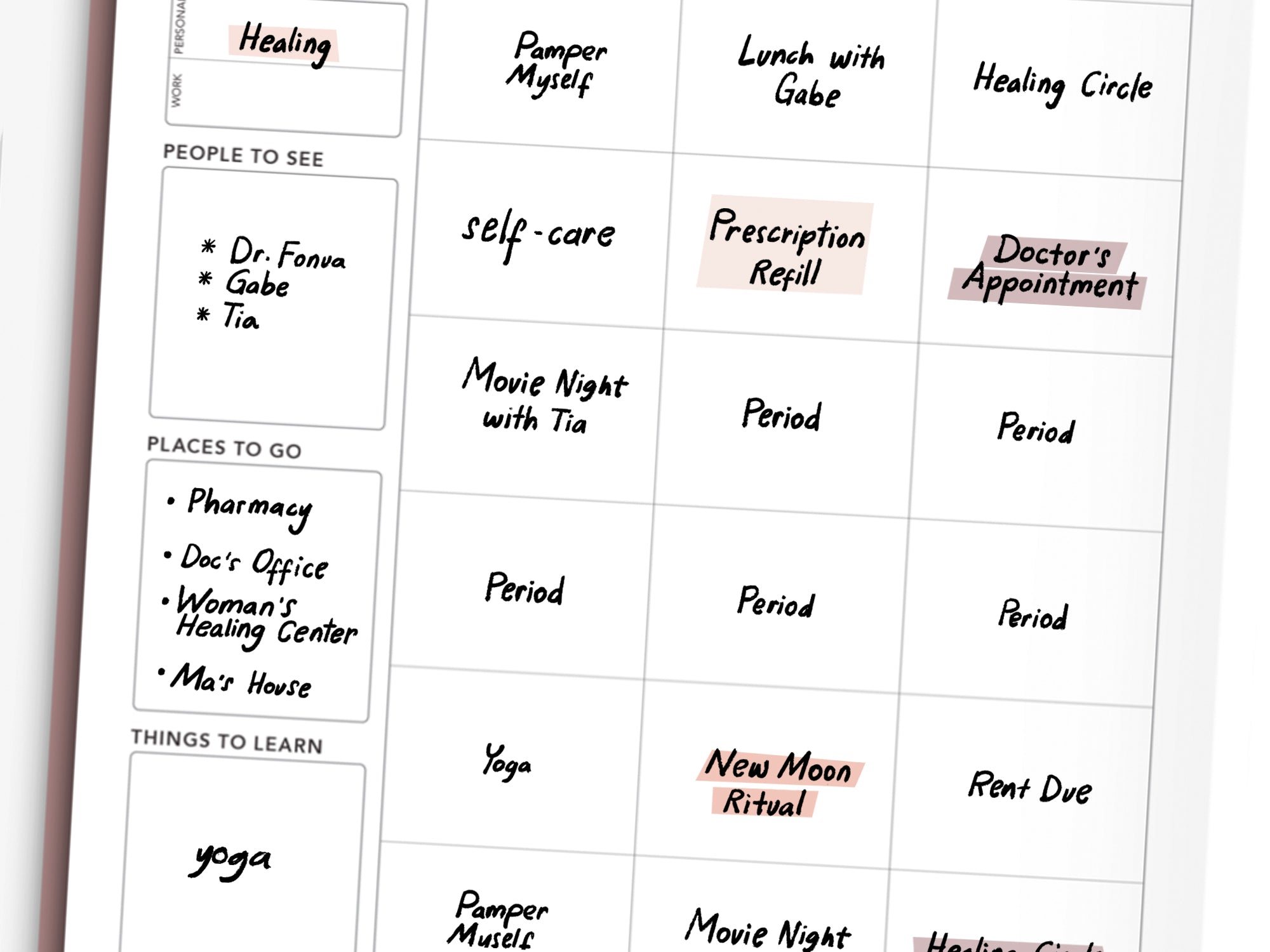 Stay on top of doctor's appointments and managing prescriptions with the Monthly Overview of your Passion Planner.