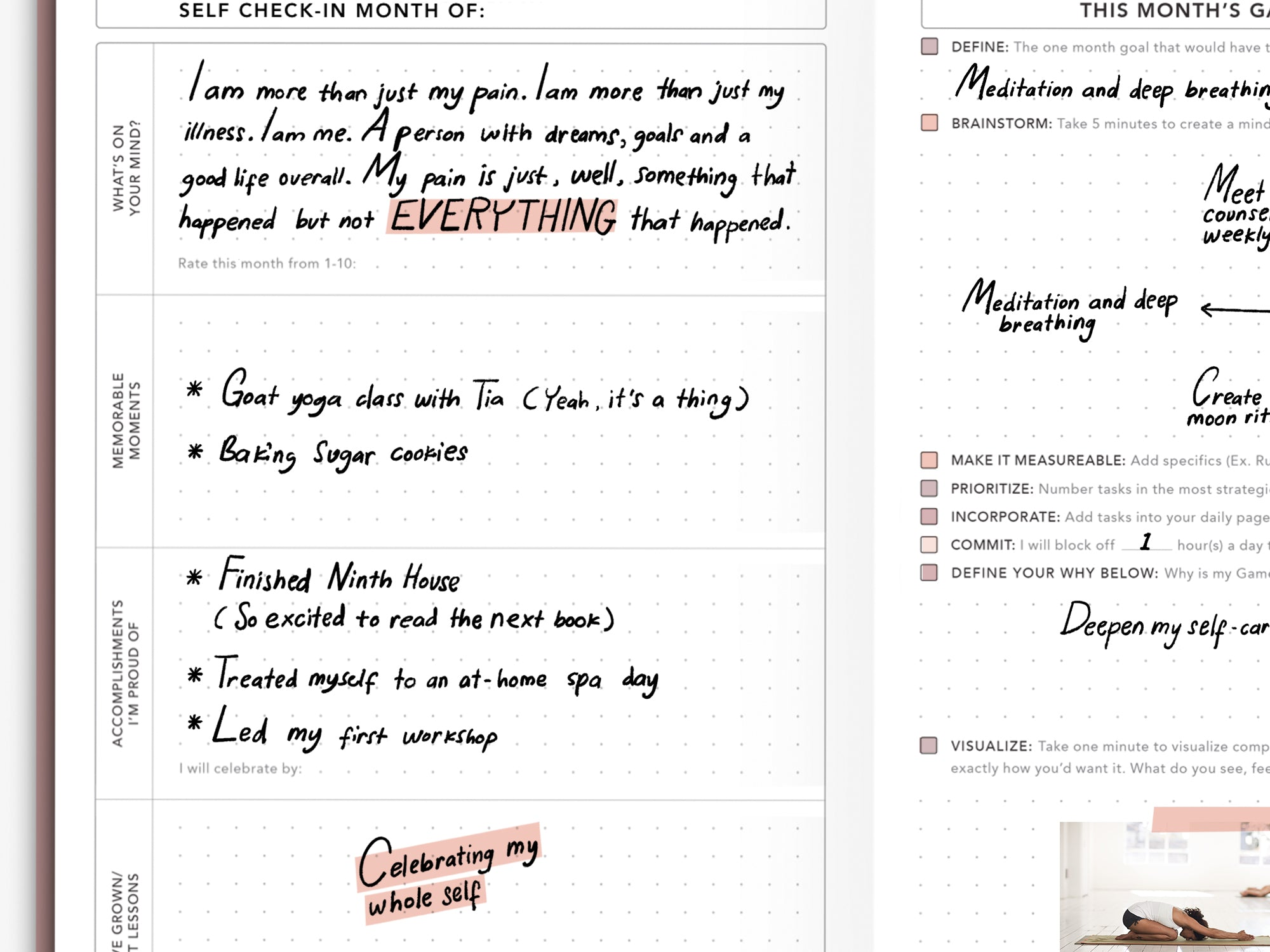 Use the Self Check In pages of your Passion Planner Daily to reflect on all the good things that have happened.