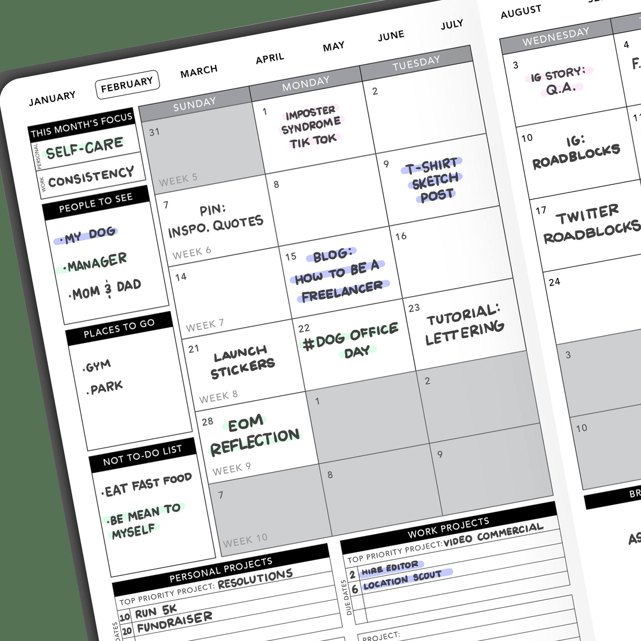 Use the monthly layout of your Passion Planner to schedule your content.