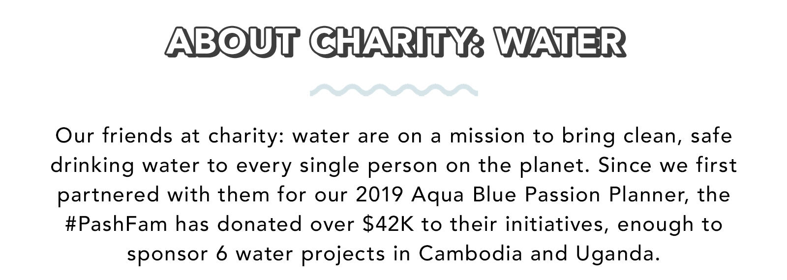 Our friends at charity: water are on a mission to bring clean, safe drinking water to every single person on the planet. Since we first partnered with them for our 2019 Aqua Blue Passion Planner, the #PashFam has donated over $42K to their initiatives, enough to sponsor 6 water projects in Cambodia and Uganda.