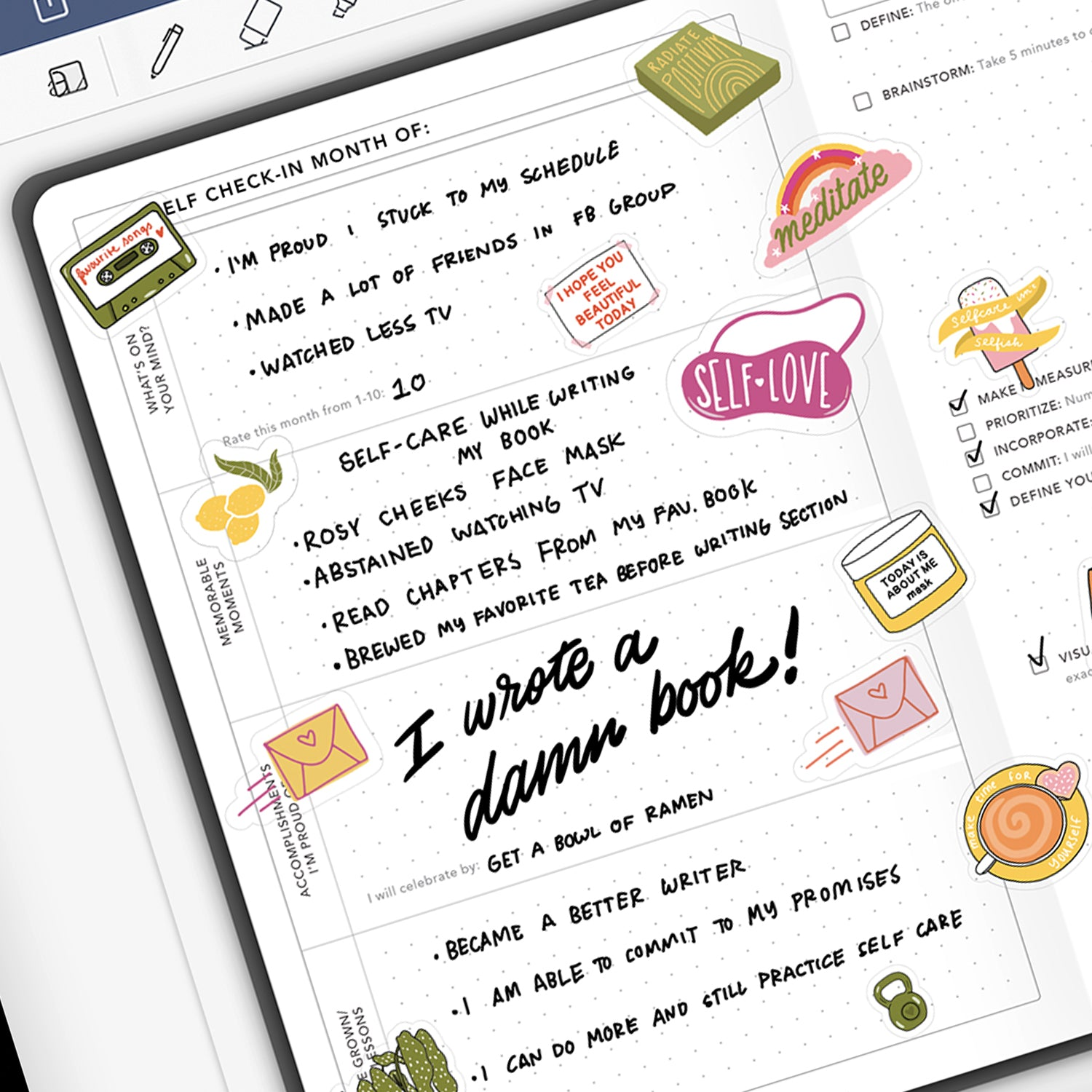 Passion Planner Digital Daily Undated Self-Check In with Digital Stickers