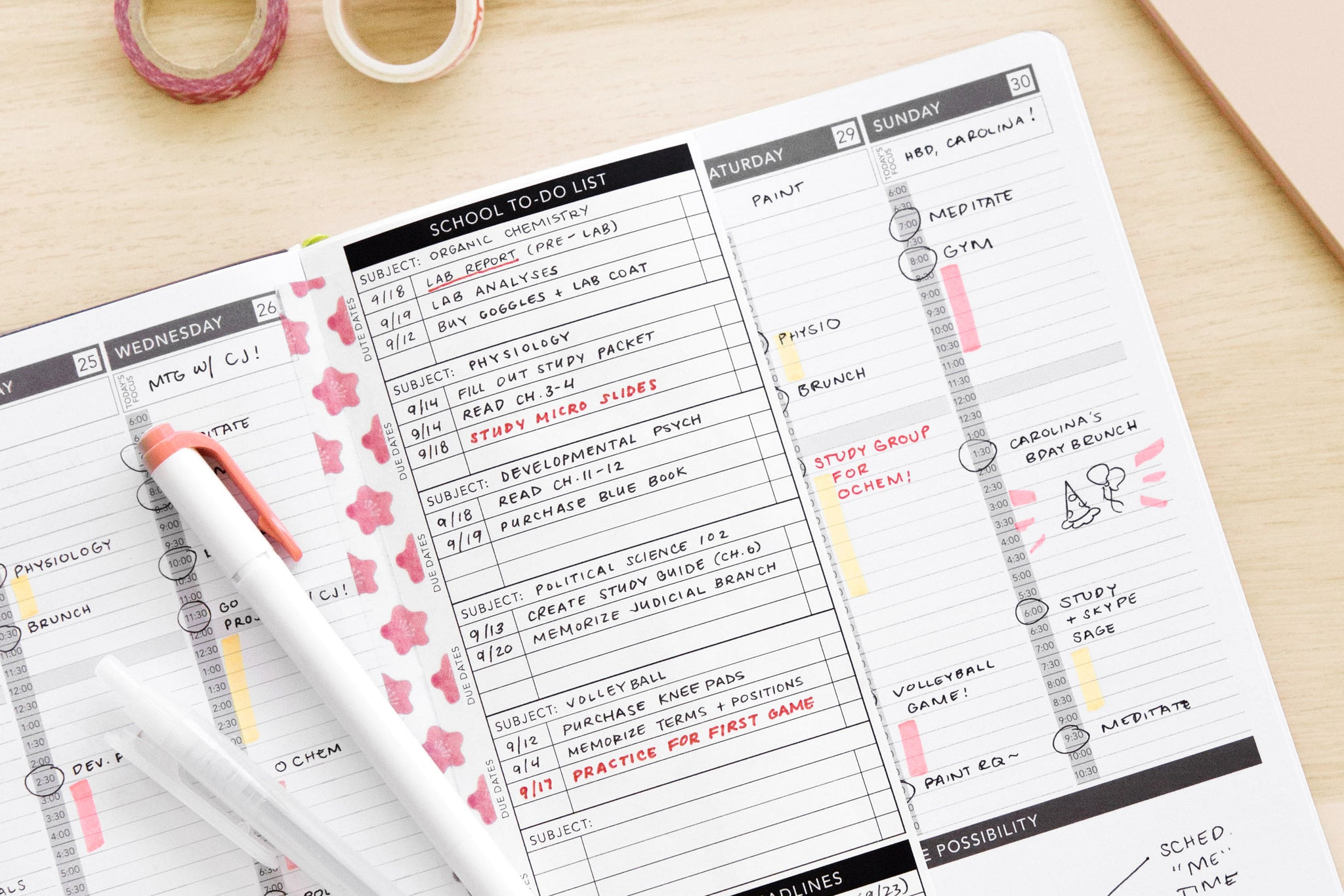 School To Do List printable insert taped inside Passion Planner weekly layout.