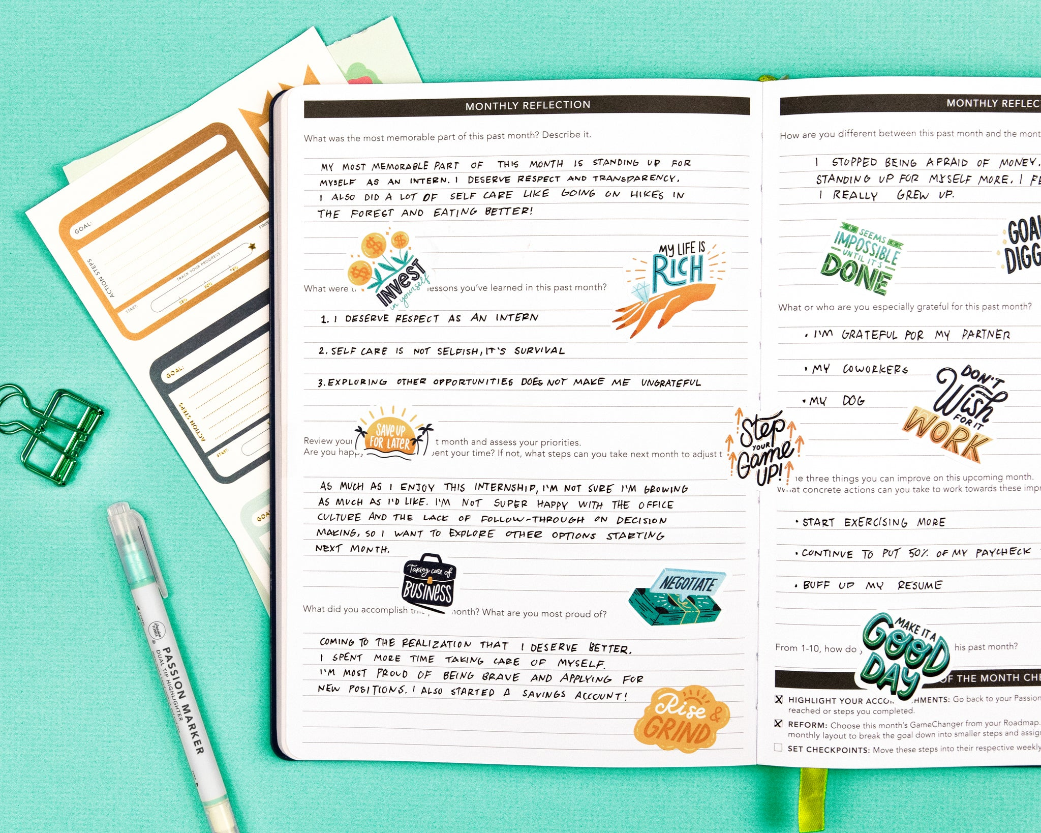 Monthly Reflection Passion Planner