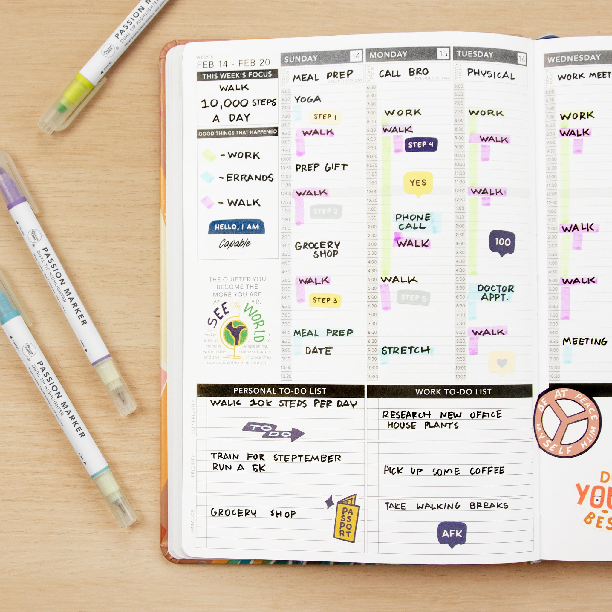 Passion Planner Weekly Layout: Schedule walks throughout your schedule and make it your focus for the week to reach 10K steps daily.