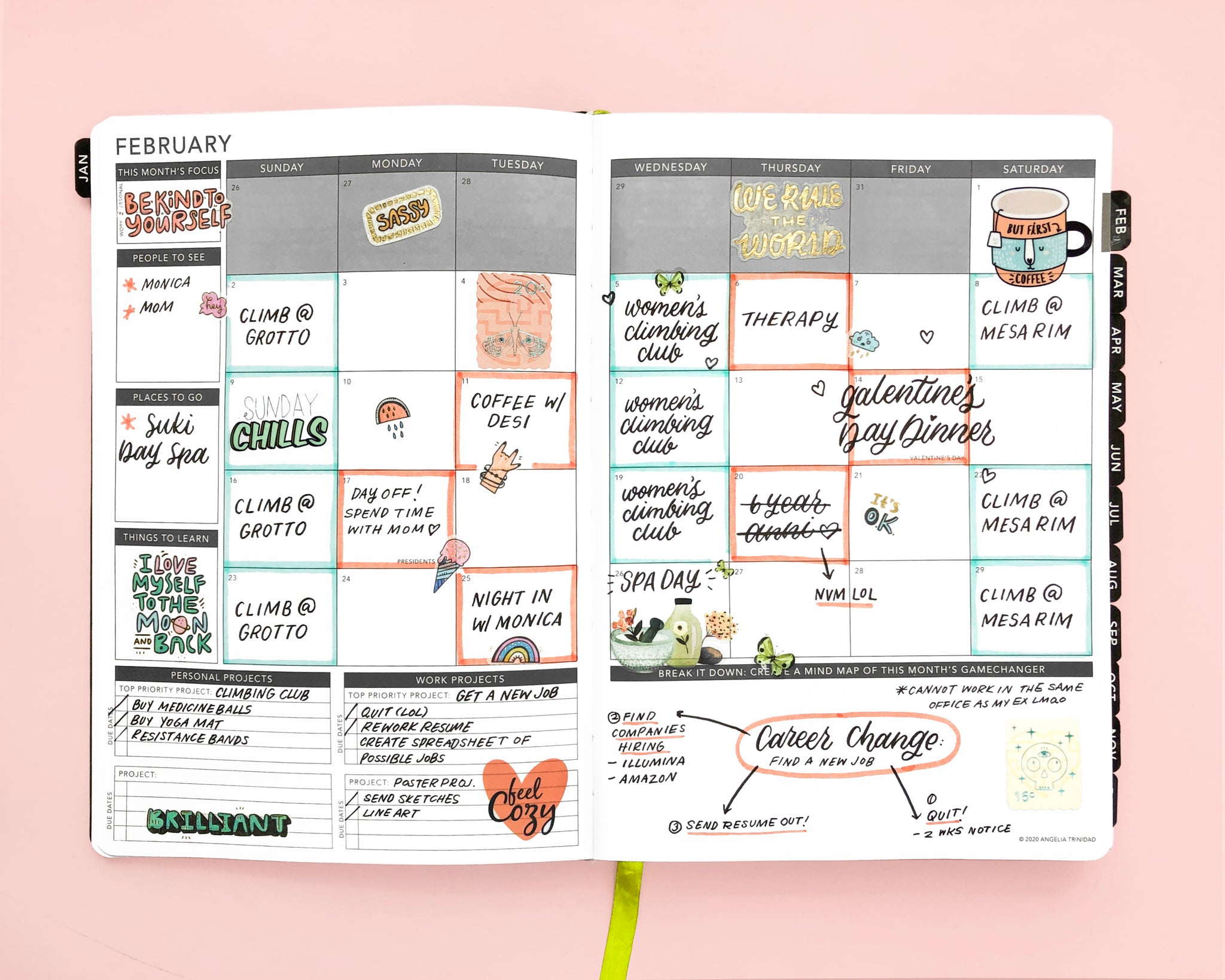 Open Layout of Passion Planner Monthly Layout with Appointments
