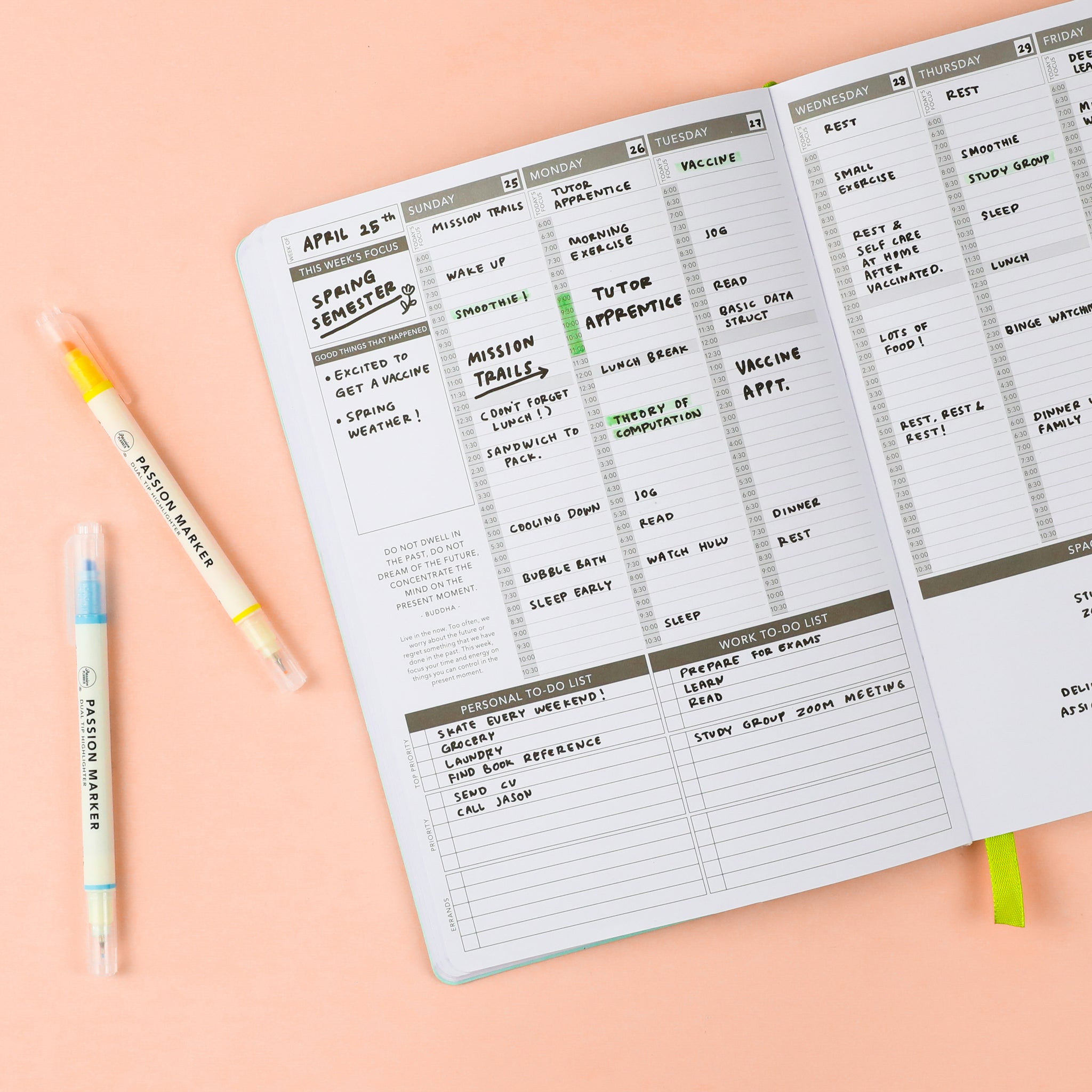 Undated Passion Planner Weekly layout and Passion Markers. Write down your schedule in the vertical appointment slots, note your tasks in the personal and work to do lists, and identify your focuses for the week and month.