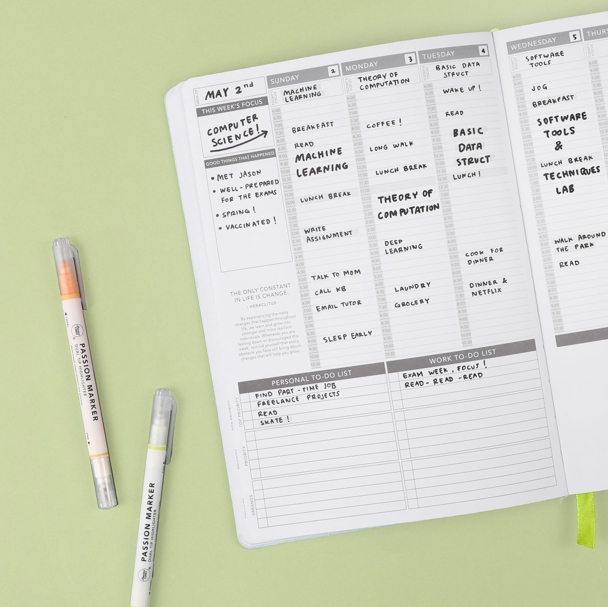 Use the weekly pages of your Passion Planner to categorize by subject. Use one week for Math, another for English, and so on!