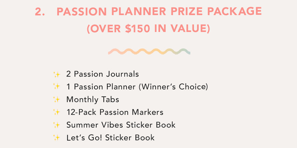 Passion Planner Prize Package