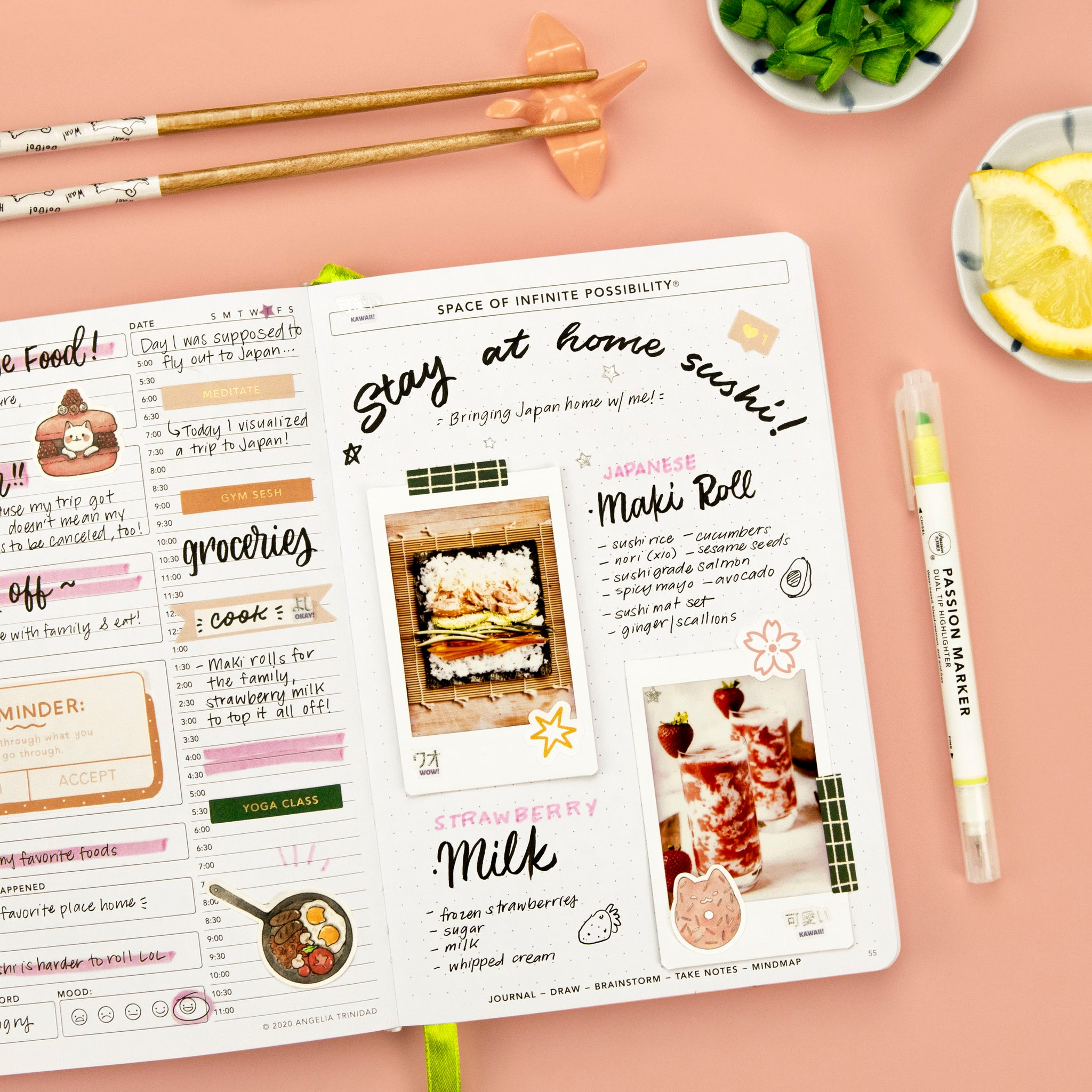 Japan staycation ideas written in Passion Planner Daily against pink background with chopsticks and Passion Marker.