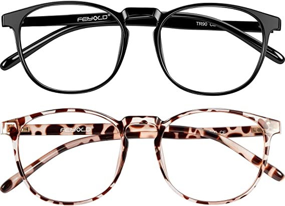 Two Pairs of Blue Light Blocking Glasses (Black Rim and Spotted Animal Print Rim)
