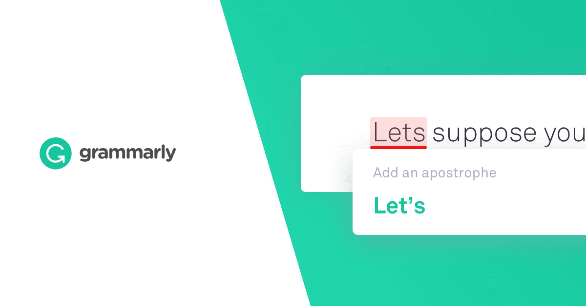 "Grammarly Ad with ""Lets"" Corrected to ""Let's"""