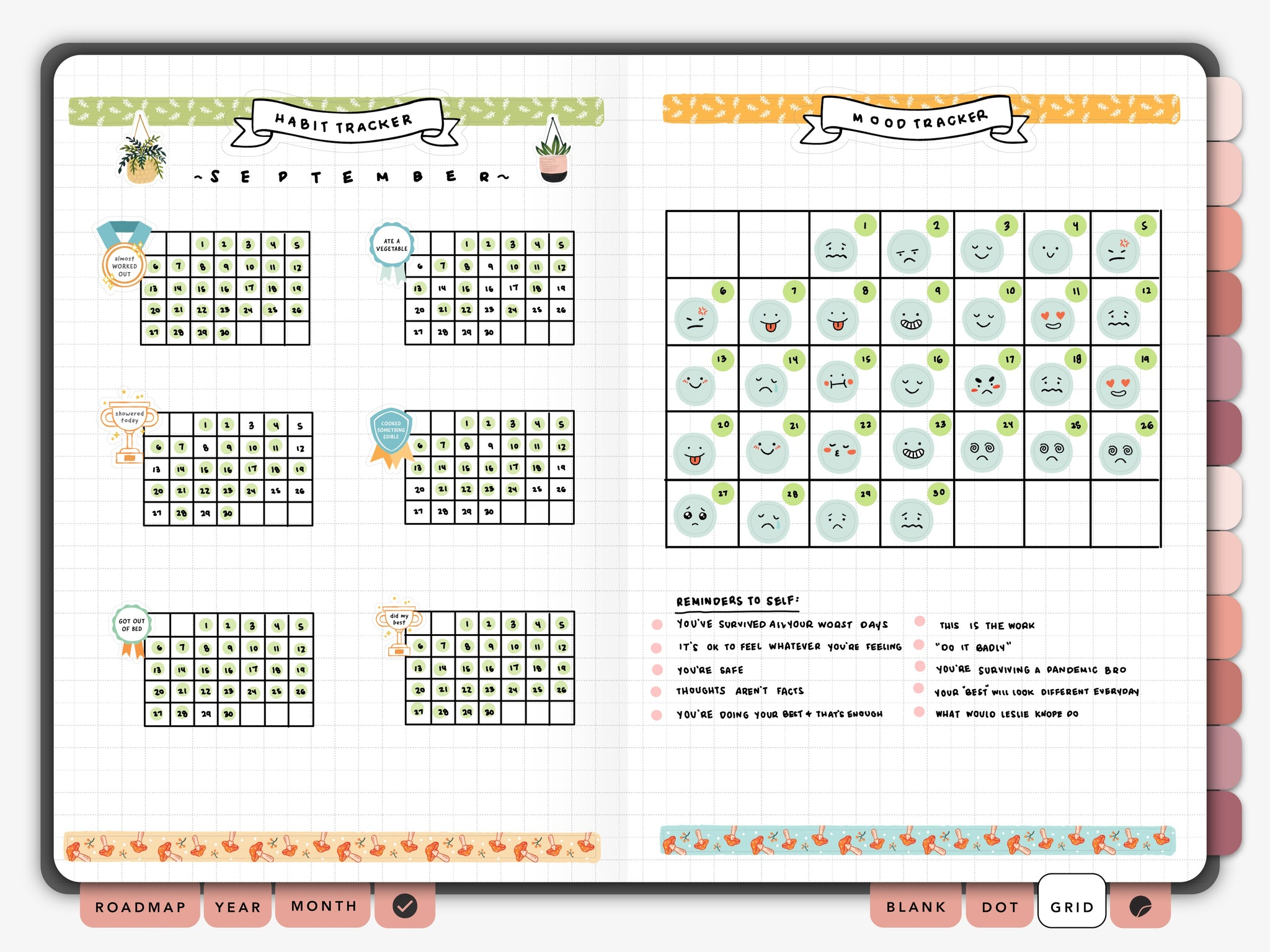 Passion Planner Digital Grid Page Spread