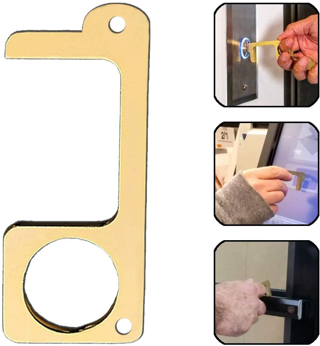 Gold No Touch Opener Tool with Examples of Using it on Elevator Buttons and Door Knobs