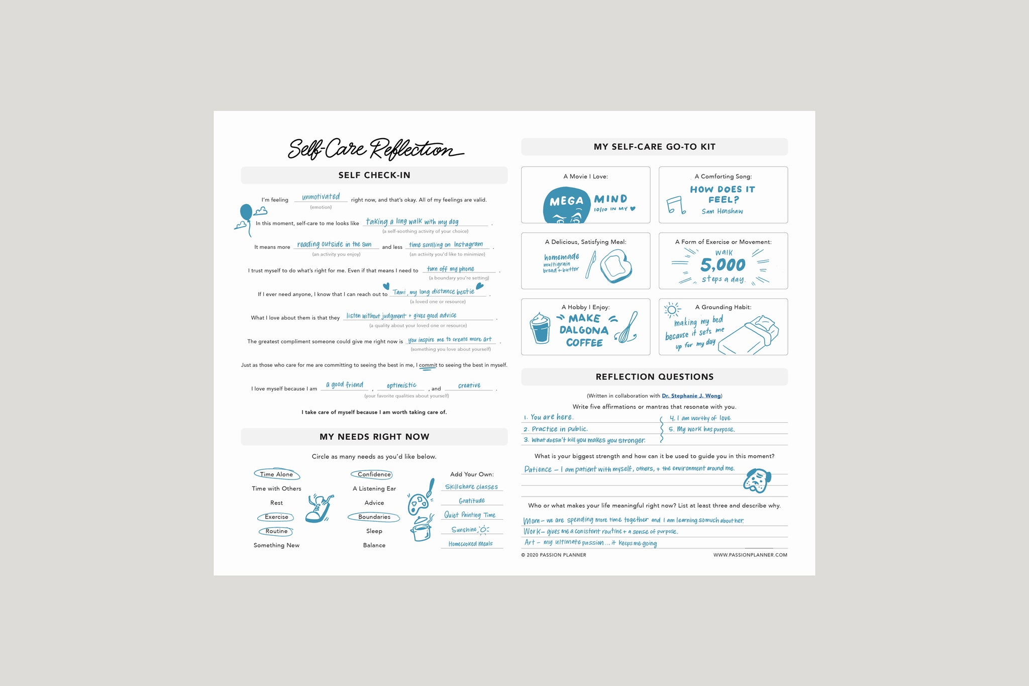 Self Care Reflection Worksheet
