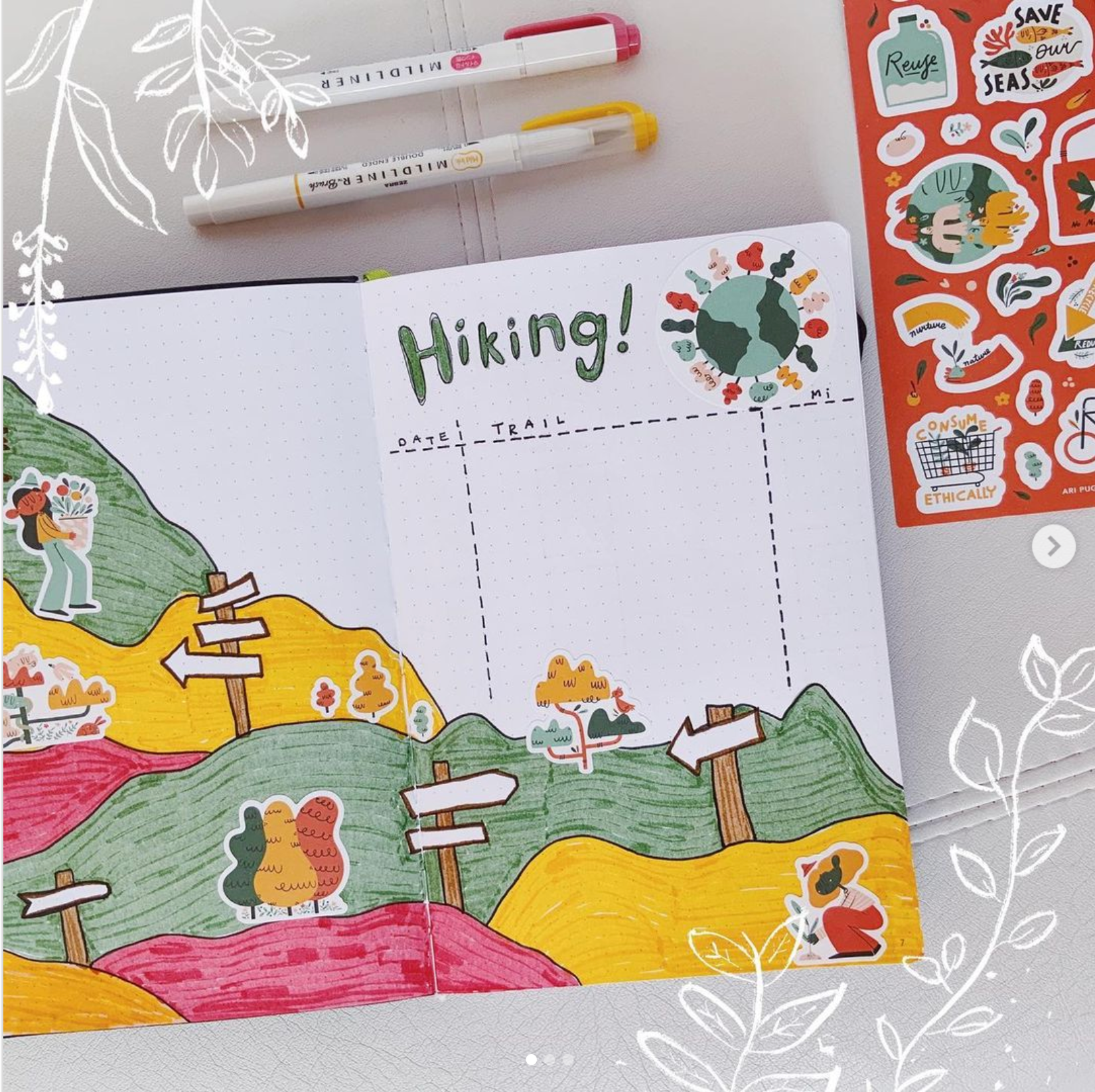 Hiking Spread inside Passion Journal