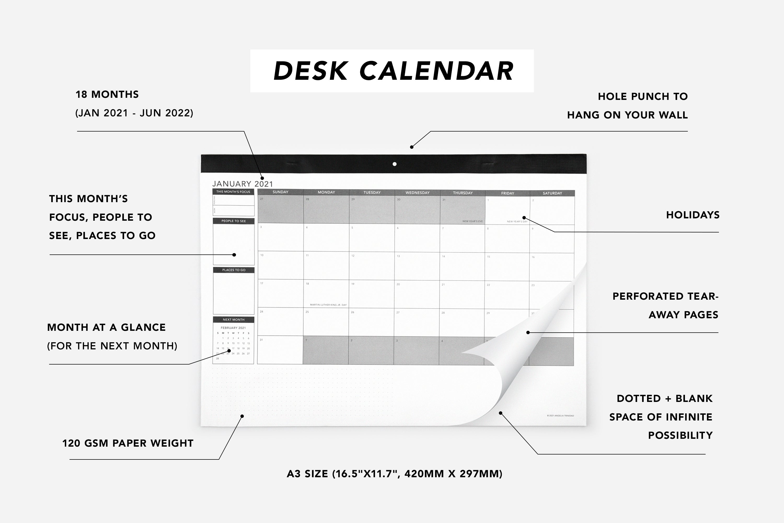 18-Month Dual Wall/Desk Calendar - Passion Planner