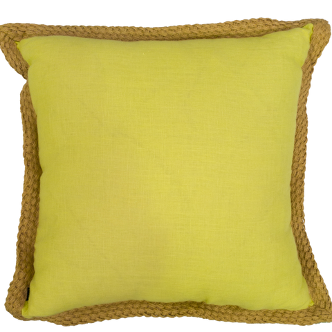 Yellow With Natural Weave  Outdoor Cushion - Middle Station Furniture