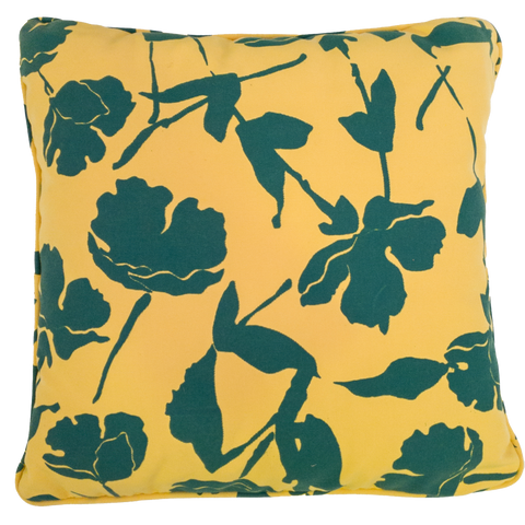 Green and Yellow Flowers Print Outdoor Cushion - Middle Station Furniture
