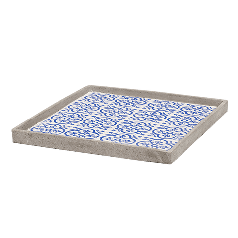 Winston Blue Square Decorative Tray – Large - Middle Station Furniture