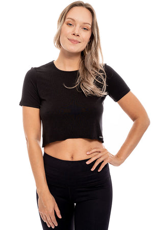 Bamboo Short Sleeve Crop T Shirt
