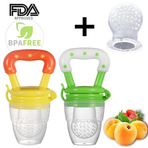 Baby Fruit Feeder Pacifier (2 Pack) - Fresh Food Feeder, Infant Fruit Teething Toy, Silicone Pouches for Toddlers & Kids -  Kid Fashion Shop