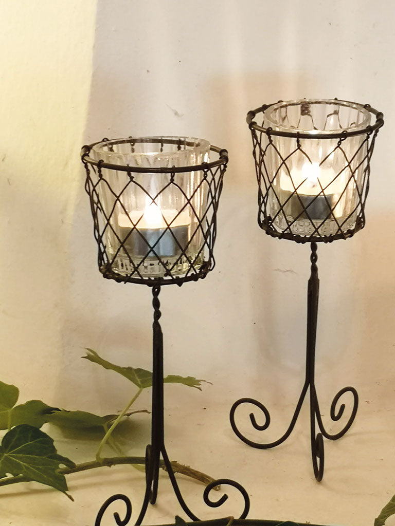 WIRE VOTIVE BASKET ZARAGOZA RUST TALL PKD 6 £4.15 EA.