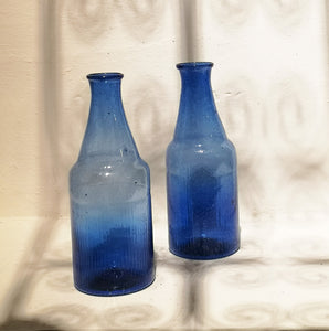 BOTTLE VASE REC.GLASS COBALT BLUE PKD 6 £4.56 EA.