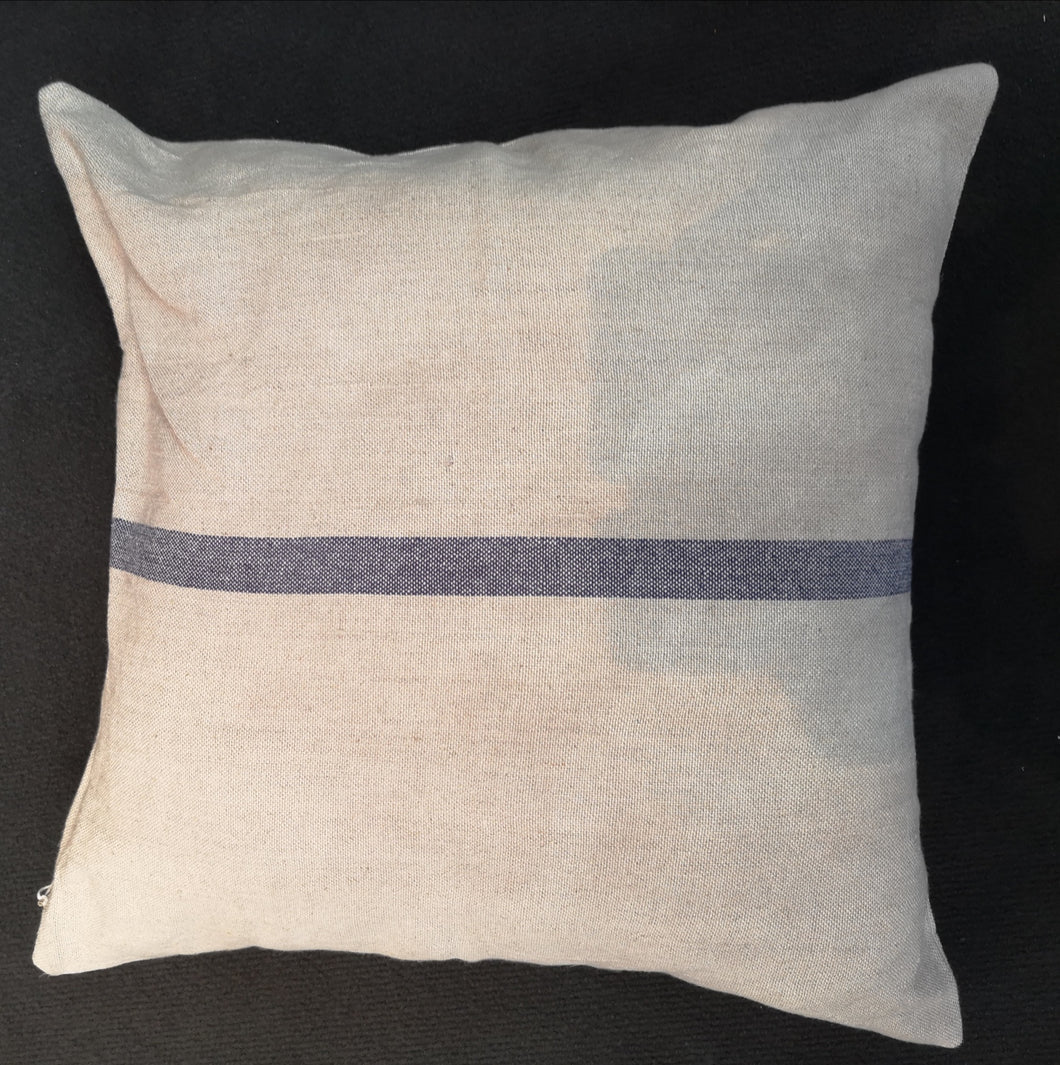 CUSHION VINTAGE LINEN/COT. BLUE STRIPE No1 PKD 2 £12.50 EA.