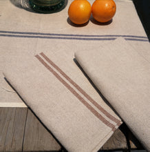 Load image into Gallery viewer, TABLE RUNNER VINTAGE LINEN/COT.BROWN STRIPE No5 PKD 2 £10.40 EA.