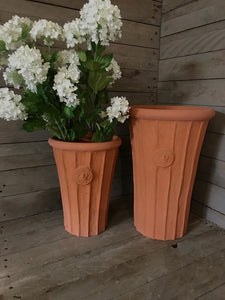 Fluted Flared Tall Terracotta Vases - Set of 2