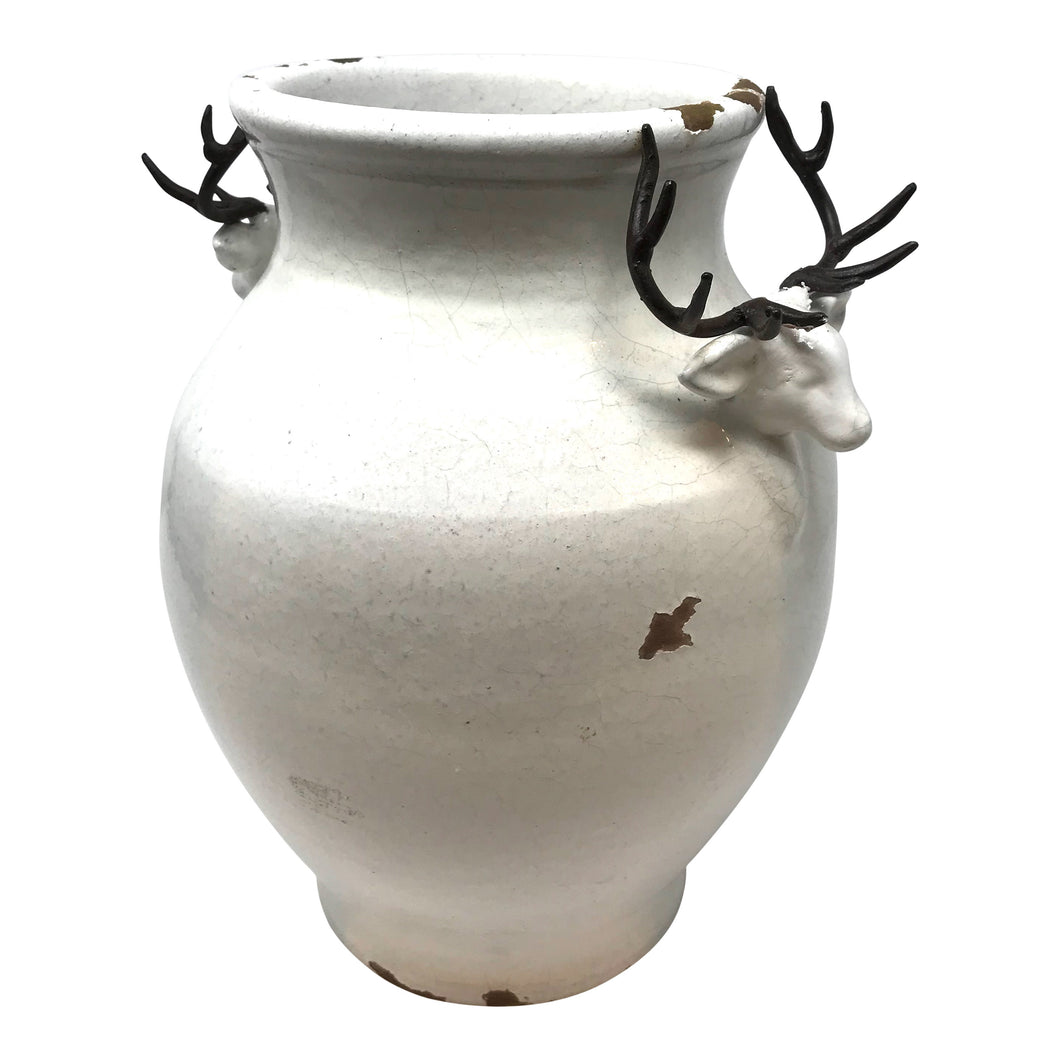 Reindeer Vase Small - Distressed White